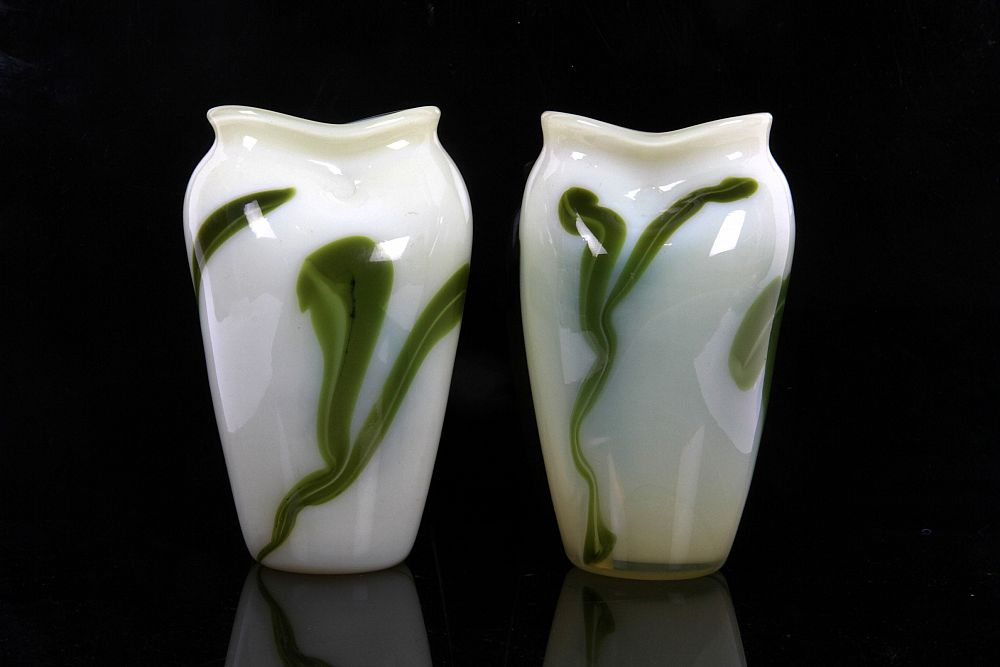 James Miles European Garniture Of Vaseline Glass Vases Possibly